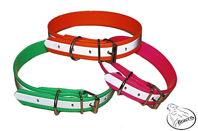 Bracco reflective Biothane collar  for dog, neon pink - different sizes.